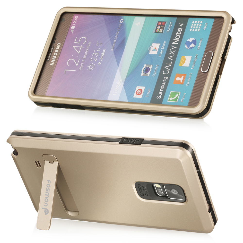 Heavy duty Armor Hard Bumper Rubber Stand Case Cover For Samsung GALAXY Note 4